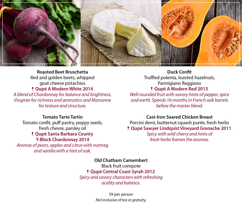 Qupé Wine Dinner menu
