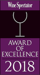 Wine spectator award of excellence 2018